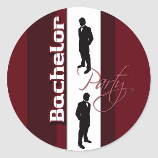 Bachelor party distinguished gentlemans round sticker
