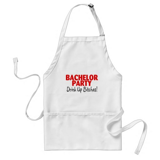 Bachelor Party Drink Up Red Black Apron