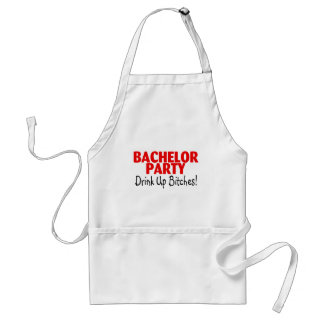 Bachelor Party Drink Up Red Black Standard Apron
