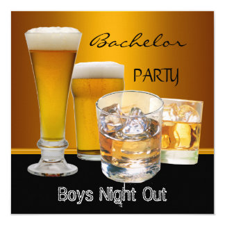 "Bachelor Party Drinks Beer Boys Night Out, 5.25"" Square Invitation Card"