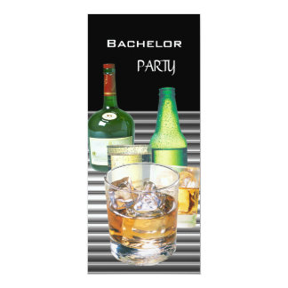 "Bachelor Party Drinks Bottles 2 4"" X 9.25"" Invitation Card"