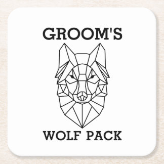 Bachelor Party Gift for men Groom's wolf Square Paper Coaster