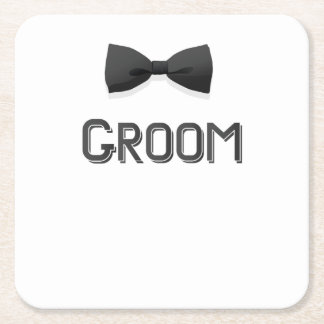 Bachelor Party  Groom With Bow Tie Pink Men Square Paper Coaster