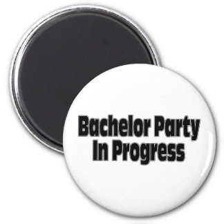 Bachelor Party In Progress (Blk) 2 Inch Round Magnet