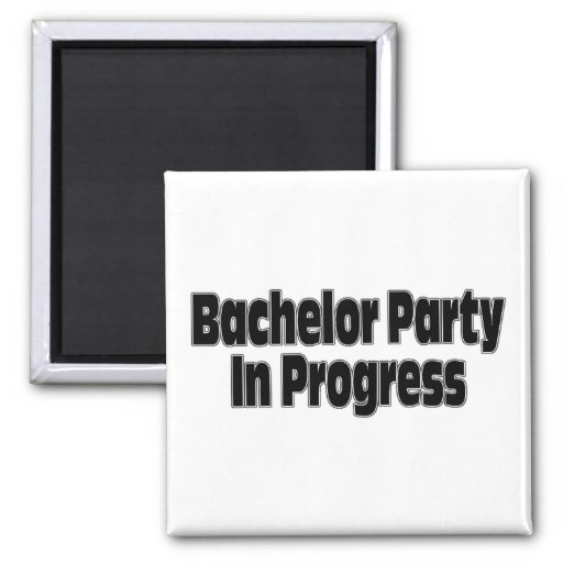 Bachelor Party In Progress (Blk) Refrigerator Magnet
