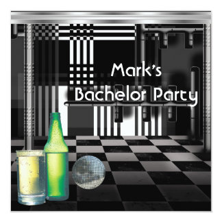 """Bachelor Party Mens Drinks Black And White Silver 5.25"""" Square Invitation Card"""
