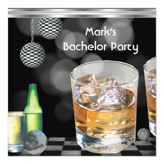 """Bachelor Party Mens Drinks Black Silver 2 5.25"""" Square Invitation Card"""