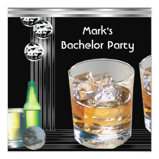 """Bachelor Party Mens Drinks Black Silver 5.25"""" Square Invitation Card"""