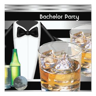 "Bachelor Party Mens Drinks Tuxedo Black Silver 5.25"" Square Invitation Card"