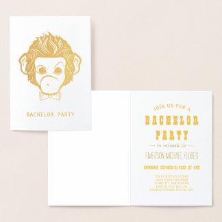 bachelor party mister monkey gold foil card