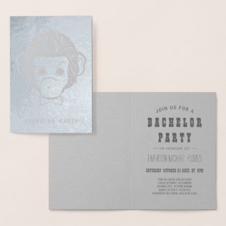 bachelor party mister monkey silver foil card