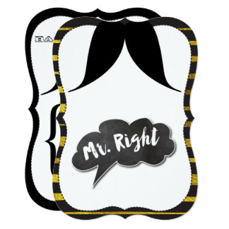 Bachelor Party Mr. Right Mustache Retro Hipster Card