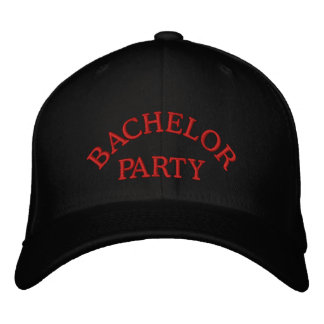 Bachelor party red embroidered baseball cap