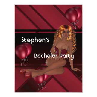 """Bachelor Party S..exy Girl Red Balloons 4.25"""" X 5.5"""" Invitation Card"""