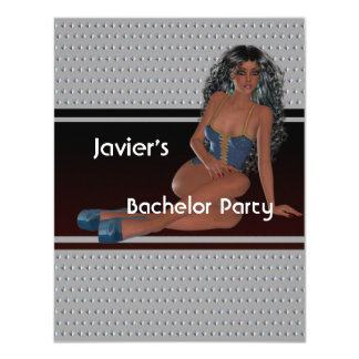 "Bachelor Party S...exy Girl Silver Studs 4.25"" X 5.5"" Invitation Card"