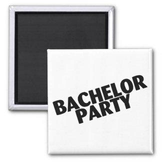 Bachelor Party (Slanted Black) Square Magnet