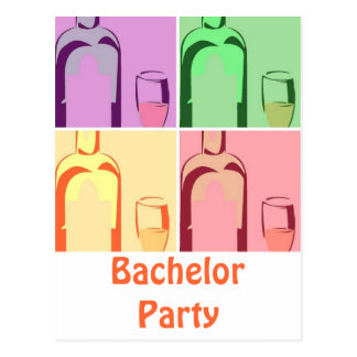 Bachelor Party Wine Postcard