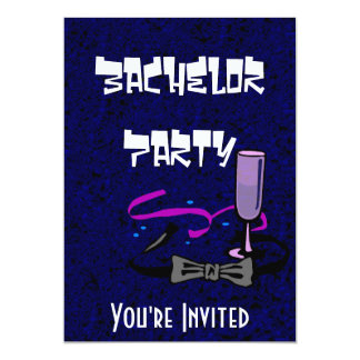 Bachelor stag party blue invitation