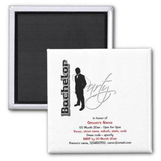 Bachelor stag party formal elegant square magnet