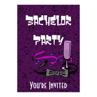 Bachelor stag party purple invitation