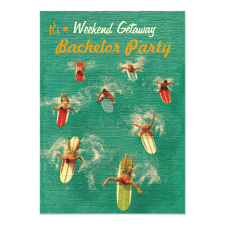 """Bachelor Weekend Getaway Party Invitations 5"""" X 7"""" Invitation Card"""