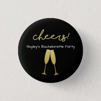 Bachelorette Badge with with with Gold Glitter 1 Inch Round Button