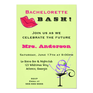Bachelorette bash party with lips and a cocktail 5x7 paper invitation card