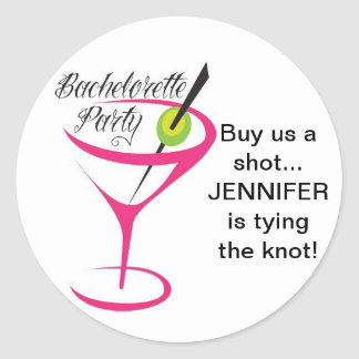Bachelorette_Buy us a shot_Stickers Classic Round Sticker