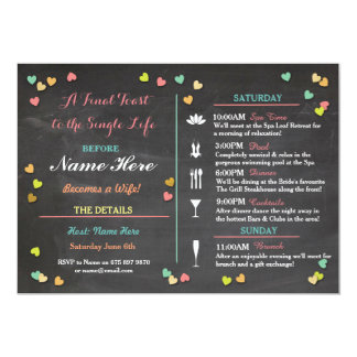 "Bachelorette Itinerary Weekend Hen Bridal Shower 5"" X 7"" Invitation Card"