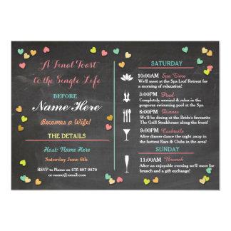 "Bachelorette Itinerary Weekend Hen Bridal Shower 5"" X 7"" Invitation Card"