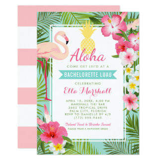 Bachelorette Luau Invitations | Tropical Flowers