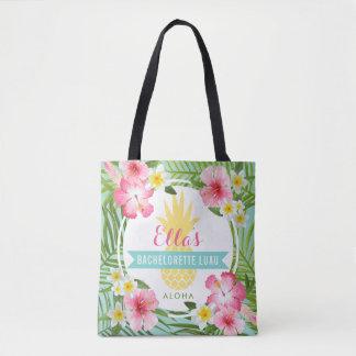 Bachelorette Luau | Tropical Pineapple Flowers Tote Bag