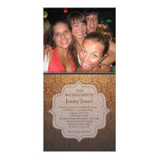 Bachelorette Party Caramel Damask Photo Invite Customized Photo Card