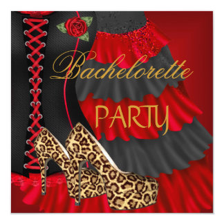 Bachelorette Party Corset Black Red Dress Shoes Card