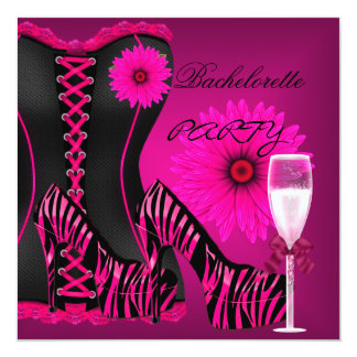 Bachelorette Party Corset Zebra Black Pink Shoes Card