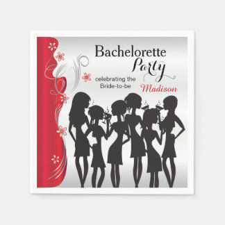 Bachelorette Party Girls - Deep Red Paper Napkin