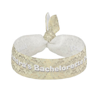 Bachelorette party gold damask personalized hair tie