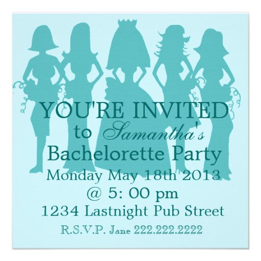 Bachelorette Party Invitation teal