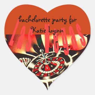 Bachelorette Party Las Vegas Casino Theme Heart Sticker