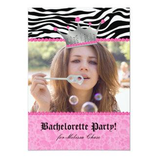 "Bachelorette Party leopard Crown Lace Heart Pink 5"" X 7"" Invitation Card"