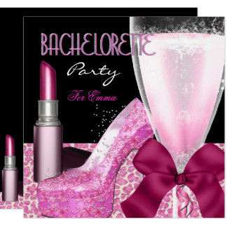 Bachelorette Party Lipstick Pink Champagne Card