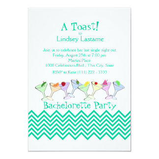 "Bachelorette Party, Martini Parade 5"" X 7"" Invitation Card"