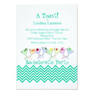 """Bachelorette Party, Martini Parade 5"""" X 7"""" Invitation Card"""