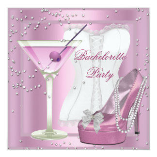 Bachelorette Party Pink Corset High Heel Shoes 2 Card