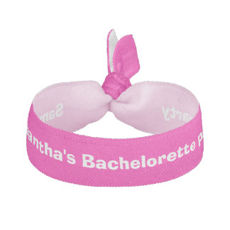Bachelorette party pink personalized hair tie