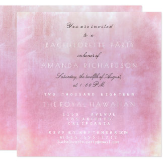 Bachelorette Party Pink Powder Pastel Watercolor Card