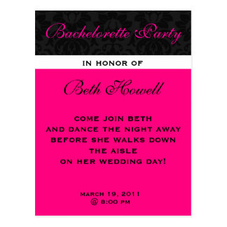 Bachelorette Party Postcard invites