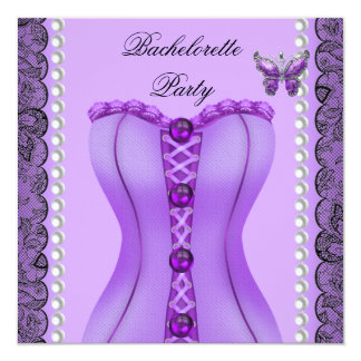 Bachelorette Party Purple Lilac Corset Butterfly Card