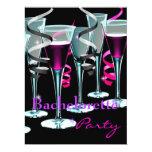 "Bachelorette Party Purple Pink Black Drinks 6.5"" X 8.75"" Invitation Card"
