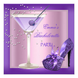 Bachelorette Party Purple Pink Shoes 2 Personalized Invitation